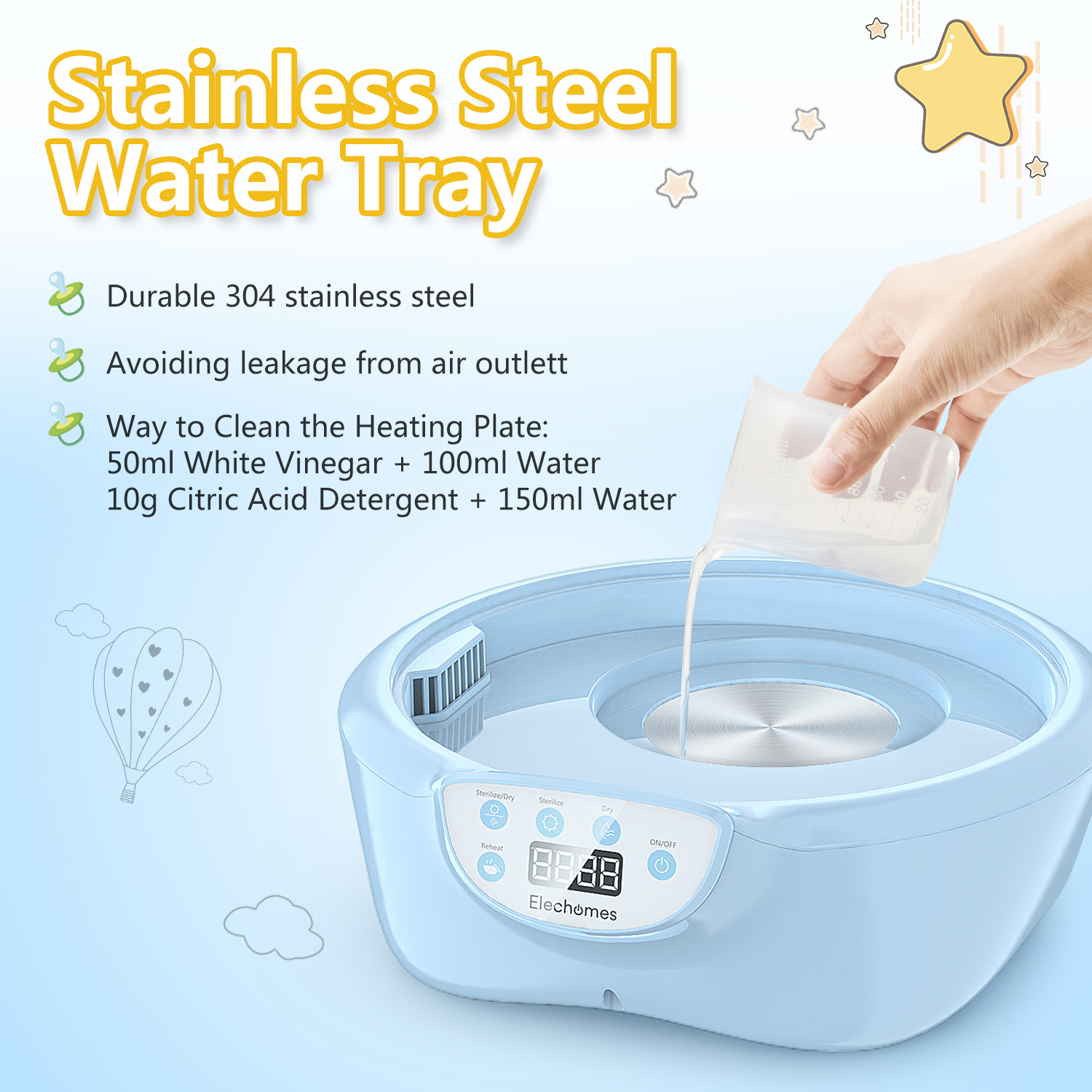 Elechomes Baby Bottle Sterilizer and Dryer 5-in-1 Multifunctional 600W Electric Steam Sterilizer Fit for 8-Ounce Dr Brown and Easy to Operate