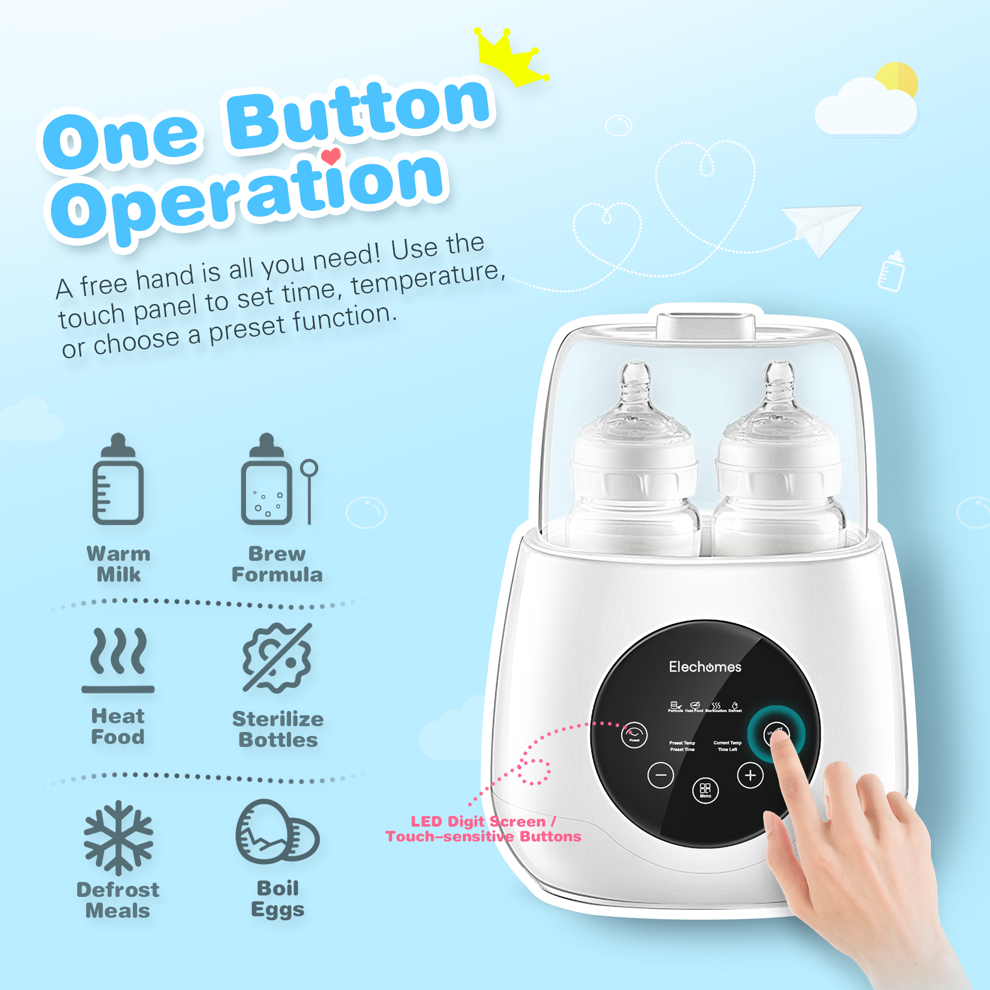 US Baby Bottle Warmer Steam Sterilizer Multi-function Food Breastmilk Heater LED